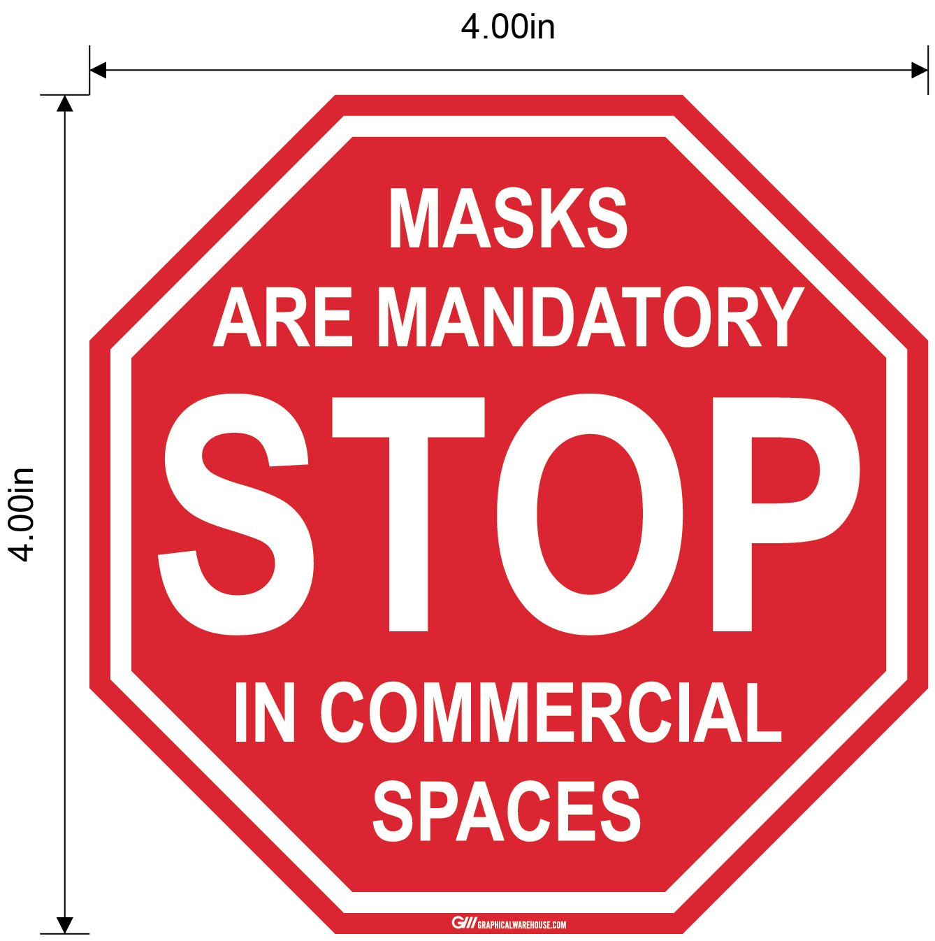 "Stop Sign ""Masks Mandatory in Commercial Spaces"" Adhesive Durable Vinyl Decal- Various Sizes Available"