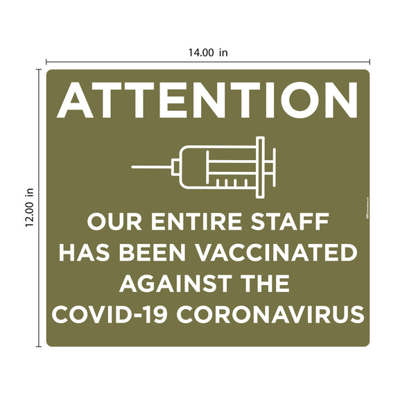 """Staff has been Vaccinated"" Version 2, Adhesive Durable Vinyl Decal- Various Sizes/Colors Available"