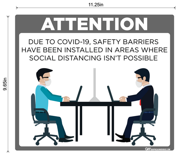 """Safety Barriers Installed"" Adhesive Durable Vinyl Decal- Various Sizes/Colors Available"