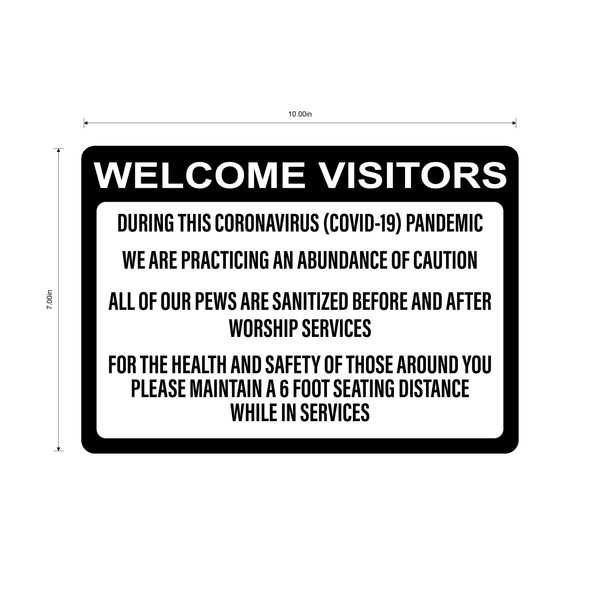 """Church, Sanitized Pews"" Adhesive Durable Vinyl Decal- Various Sizes Available"