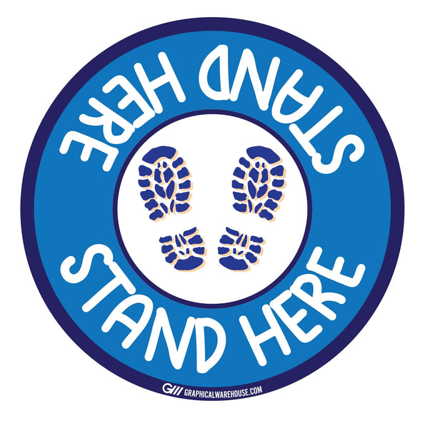 """Stand Here"" Kids Social Distancing, 10 Pack- Durable Matte Laminated Vinyl Floor Sign- Various Sizes/Designs Available"