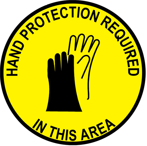 """Hand Protection Required In This Area"" Durable Matte Laminated Vinyl Floor Sign- Various Sizes Available"