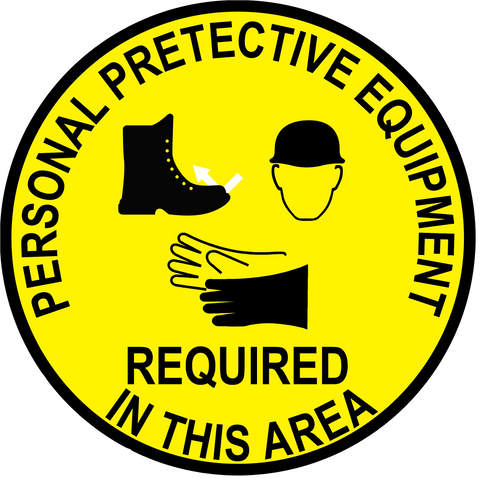 """Personal Protective Equipment Required In This Area"" Steel Toe Shoes, Hard Hat and Gloves- Durable Matte Laminated Vinyl Floor Sign- Various Sizes Available"
