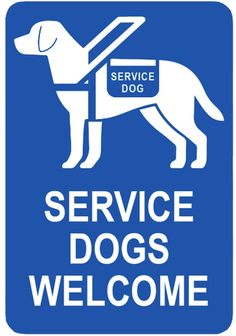 """Service Dogs Welcome"" Laminated Aluminum 3-Way Sign"