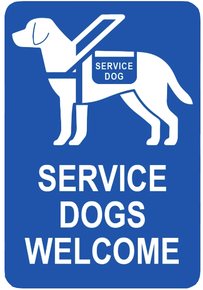 """Service Dogs Welcome"" Reflective Polystyrene Sign"