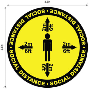 """Social Distance"" Four Way, Durable Matte Laminated Vinyl Floor Sign- Various Sizes Available"