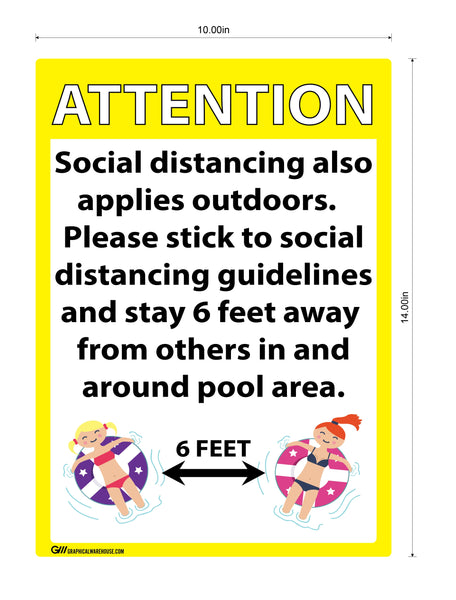 """ATTENTION, Pool Social Distancing"" - 12""x18"" Aluminum Sign"