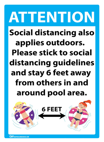 """Attention: Social Distancing at Pool"" Adhesive Durable Vinyl Decal- 10x14"""