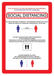 """Social Distancing"" Guidelines, Adhesive Durable Vinyl Decal- 7x10"""