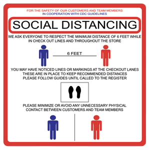 """Social Distancing"" Guidelines, Durable Matte Laminated Vinyl Floor Sign- 17x17"""