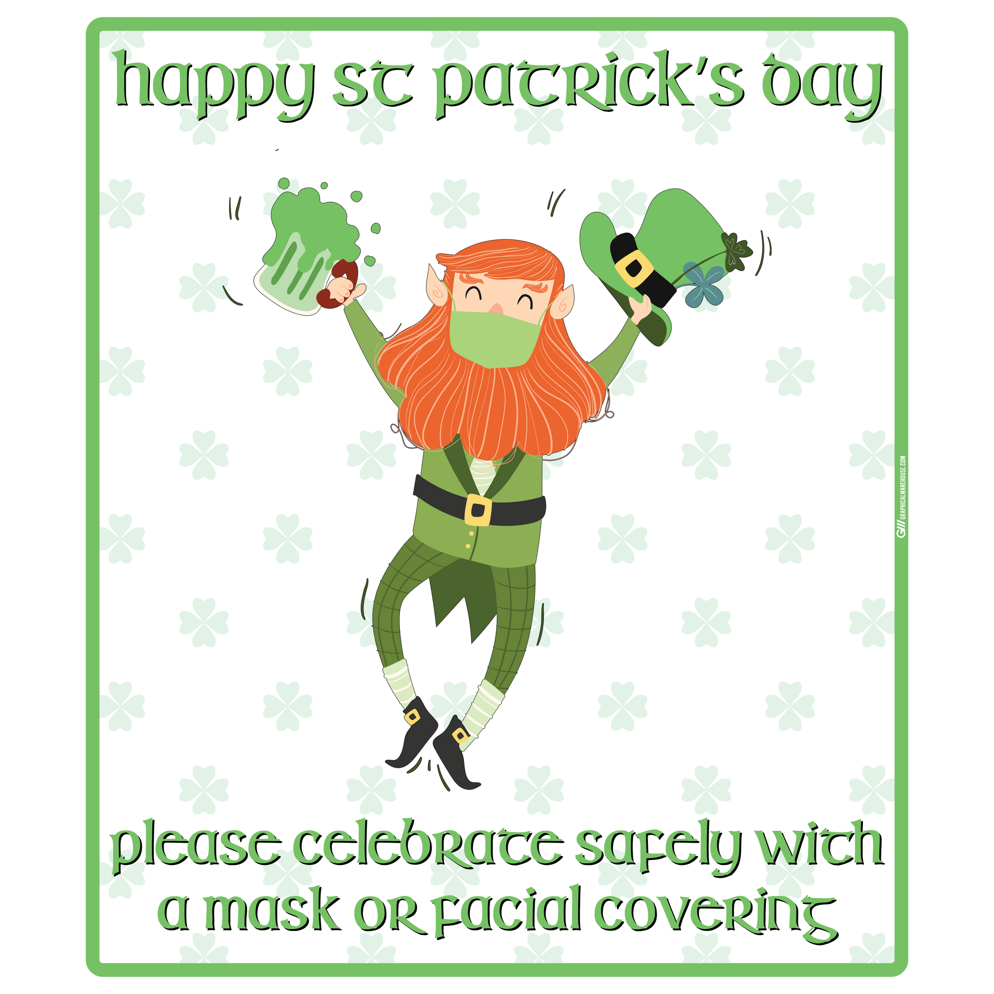 """St. Patrick's Day, Wear a Mask"" Adhesive Durable Vinyl Decal- Various Sizes Available"