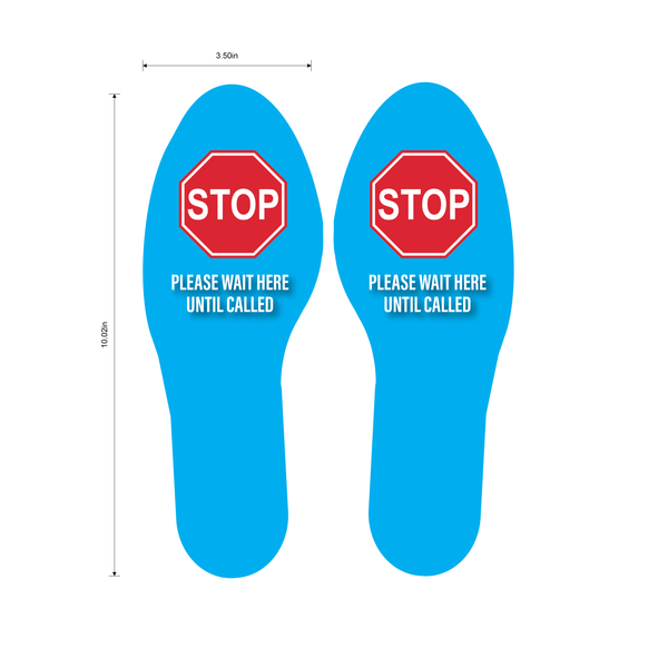 """STOP Stand Here"" Social Distancing Footprints, 5 Pairs- Durable Matte Laminated Vinyl Floor Sign- 3.5x10"""