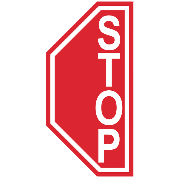 "Stop Sign ""Left Side"" Durable Matte Laminated Vinyl Floor Sign- Various Sizes Available"