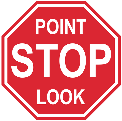 "Stop Sign ""Point Look"" Durable Matte Laminated Vinyl Floor Sign- Various Sizes Available"