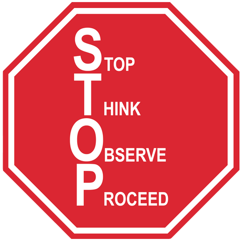 "Stop Sign ""Stop, Think, Observe, Proceed (S.T.O.P)"" Durable Matte Laminated Vinyl Floor Sign- Various Sizes Available"