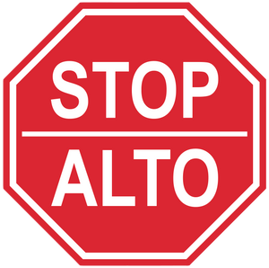 "Stop Sign ""Stop, Alto"" Durable Matte Laminated Vinyl Floor Sign- Various Sizes Available"