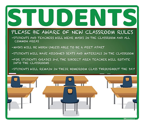 """School Classroom Rules"" Adhesive Durable Vinyl Decal- Various Sizes/Colors Available"