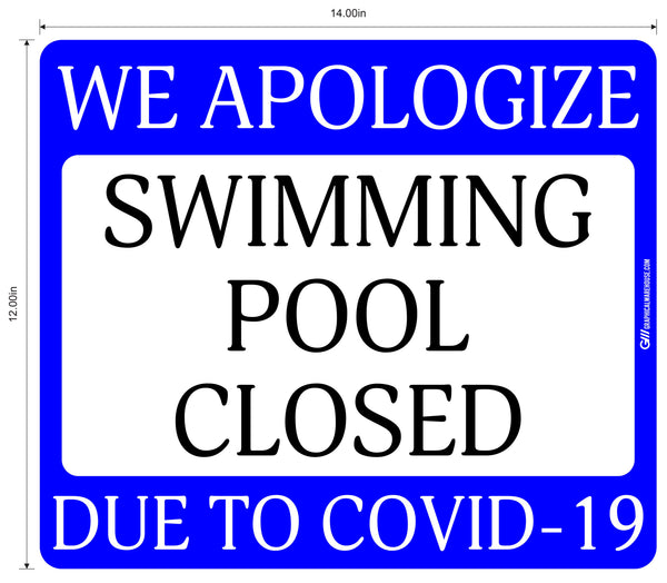 """Swimming Pool Closed Due to COVID-19"" Adhesive Durable Vinyl Decal- Various Sizes/Colors Available"