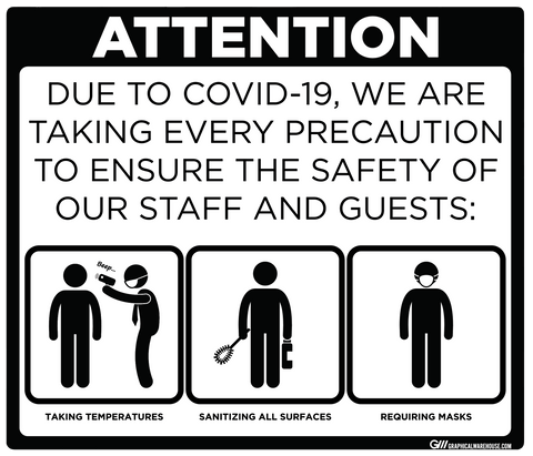 """Taking Precautions to Ensure the Safety of Staff and Guests"" Adhesive Durable Vinyl Decal- Various Sizes/Colors Available"