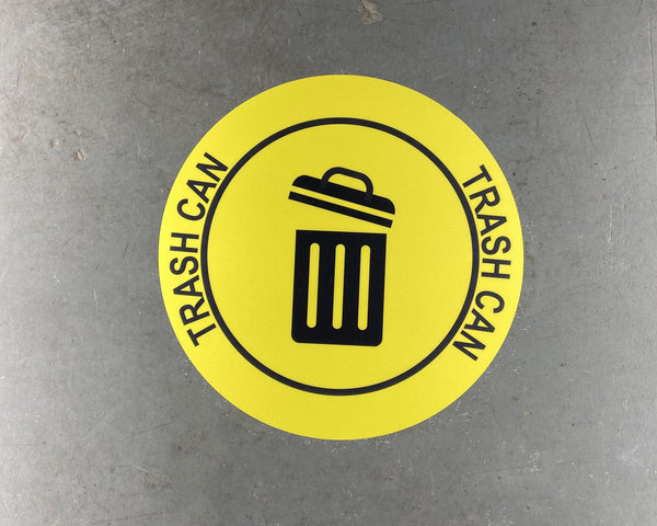 """Trash Can"" Durable Matte Laminated Vinyl Floor Sign- Various Sizes Available"
