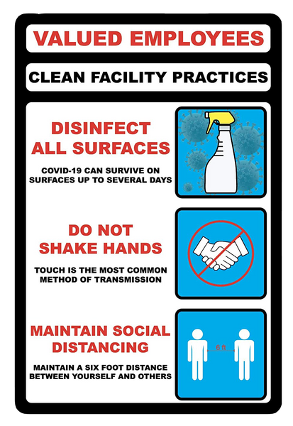 """Valued Employees, Clean Facility Practices"" Adhesive Durable Vinyl Decal- 12x18"""