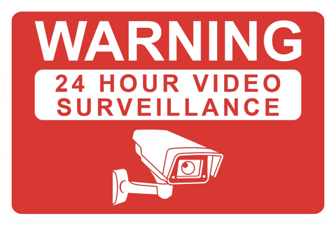 """Warning: 24 Hour Video Surveillance"" Reflective Polystyrene Sign"