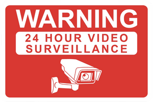 """Warning: 24 Hour Video Surveillance"" Laminated Aluminum 2-Way Sign"
