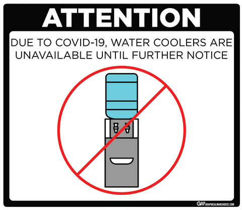 """Water Cooler Unavailable"" Adhesive Durable Vinyl Decal- Various Sizes/Colors Available"