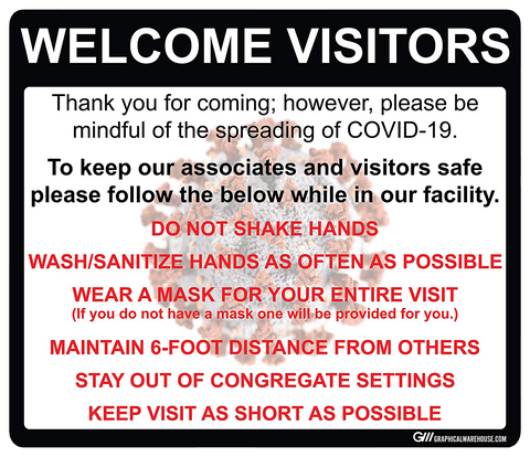 """Social Distancing Visitor Policy and Procedures"" Adhesive Durable Vinyl Decal- Various Sizes Available"