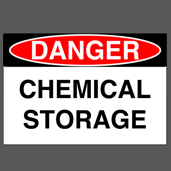 "Danger ""Chemical Storage"" Durable Matte Laminated Vinyl Floor Sign- Various Sizes Available"