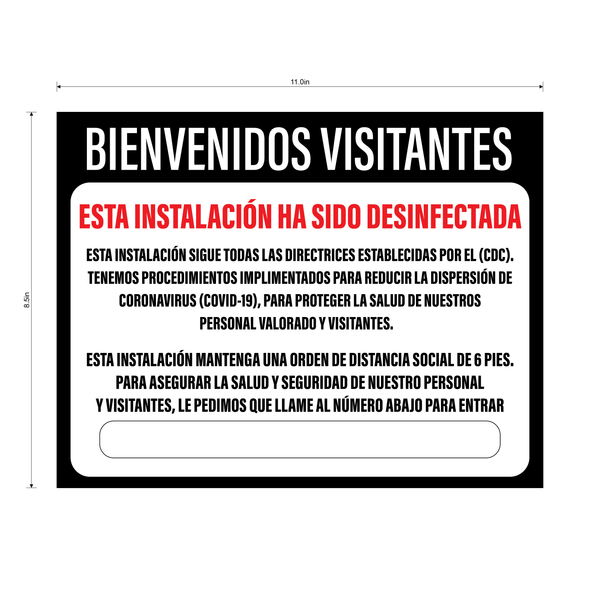 """Facility Disinfected"" Adhesive Durable Vinyl Decal- Available in English and Spanish- 11x8.5"""