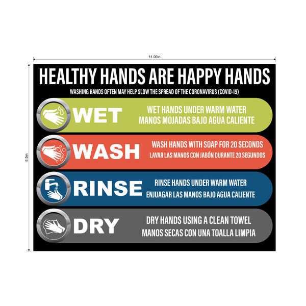"""Healthy Hands are Happy Hands"" Adhesive Durable Vinyl Decal- 8.5x11"""