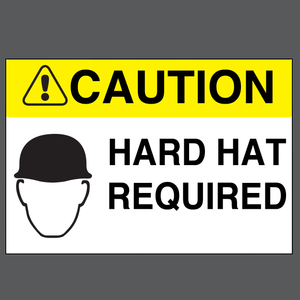 "Caution ""Hard Hat Required"" Durable Matte Laminated Vinyl Floor Sign- Various Sizes Available"