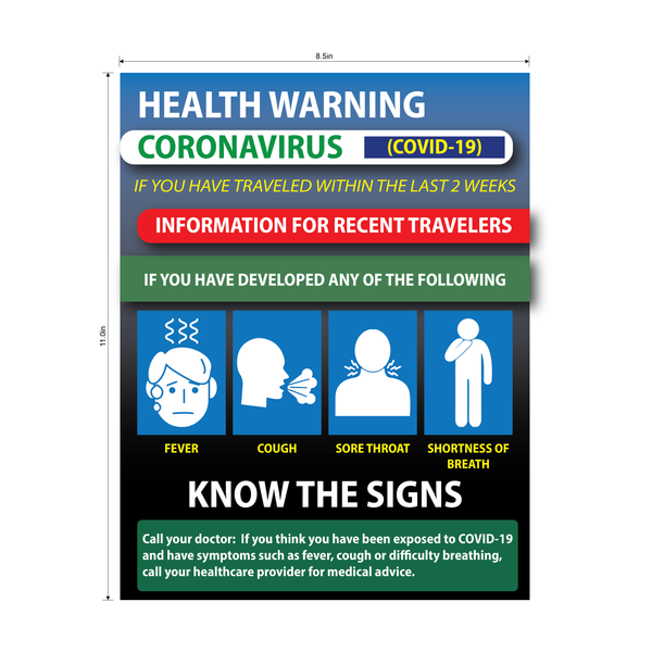 """Health Warning, Information for Recent Travelers"" Adhesive Durable Vinyl Decal- 8.5x11"""