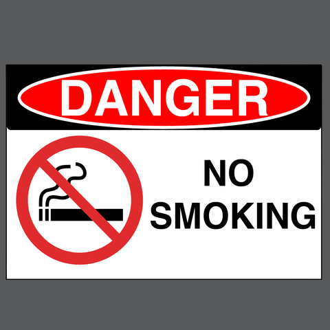 "Danger ""No Smoking"" Durable Matte Laminated Vinyl Floor Sign- Various Sizes Available"