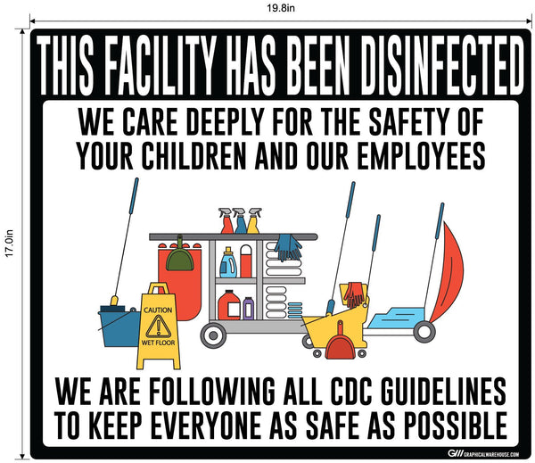 """Facility Disinfected for the Safety of your Children"" Version 2- Adhesive Durable Vinyl Decal- Various Sizes/Colors Available"
