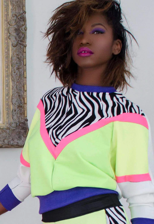 Rio Neon Colour Block Batwing Jumper With Zebra Panel