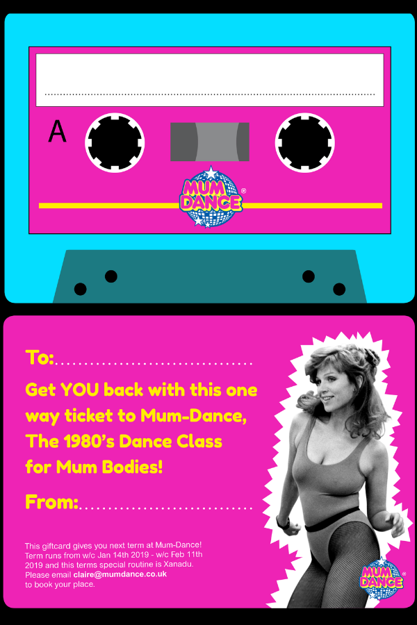 Mum-Dance Gift Voucher Card Present Dance Lessons 80s aerobics uk