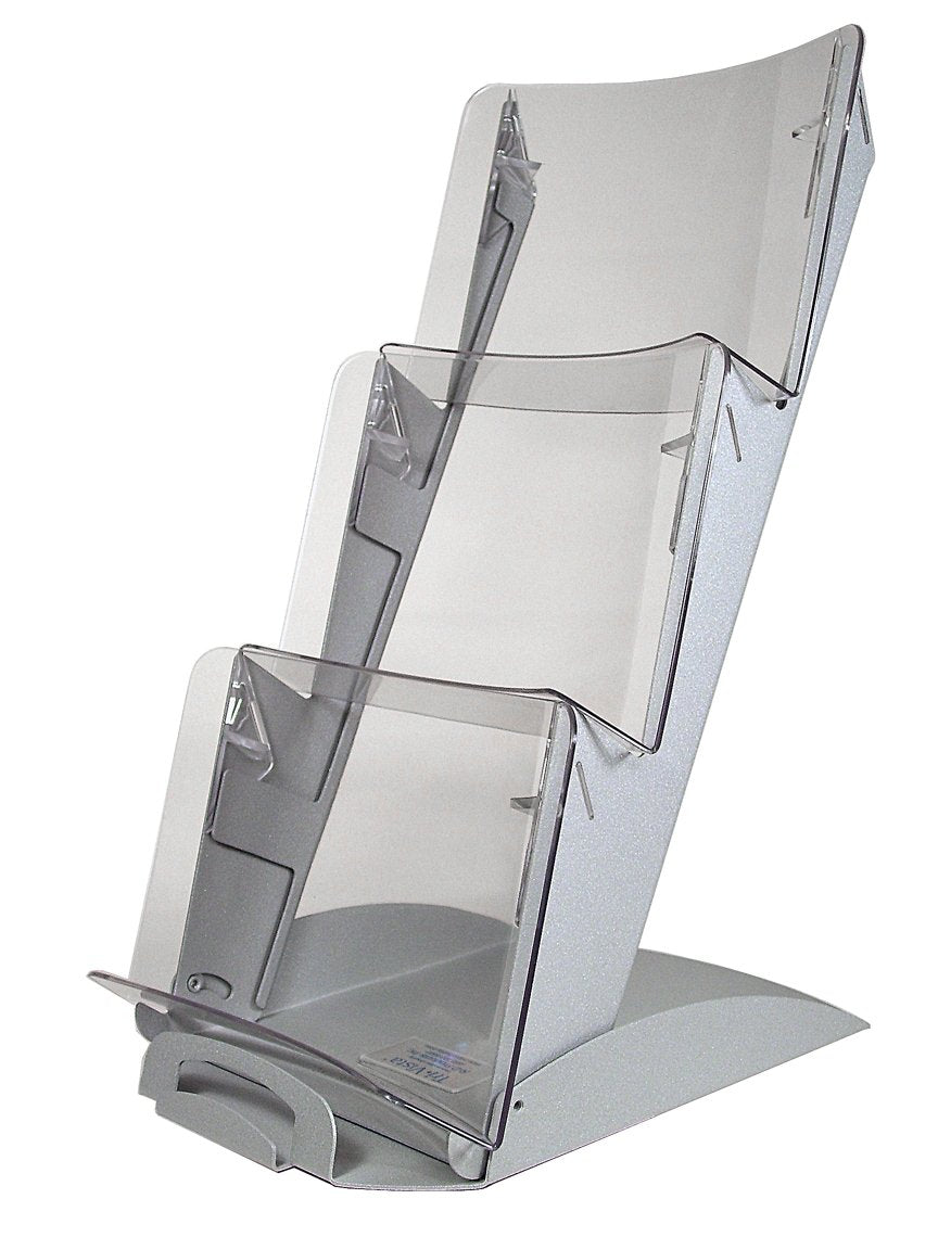 3 Tier TriVista™ Table Top Display, Silver with Clear Pockets #903SC