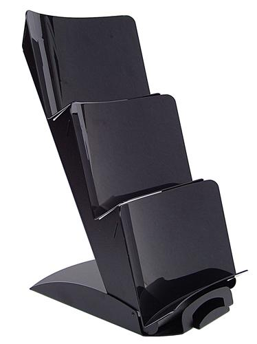 3 Tier TriVista™ Table Top Display, Black with Black Pockets #903BB