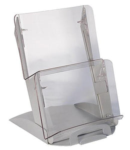 2 Tier BiVista™ Table Top Display, Silver with Clear Pockets #902SC