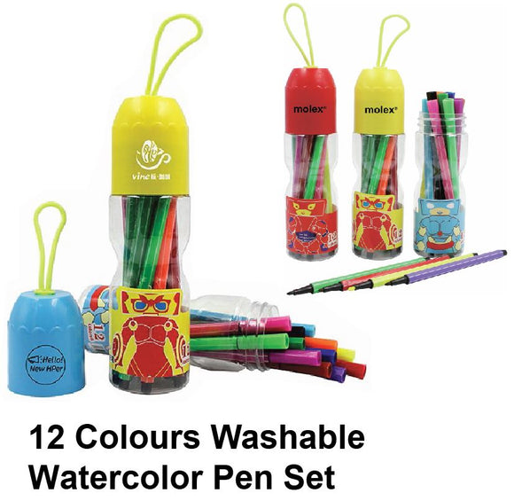 12 Colours Washable Watercolor Pen Set - Tredan Connections