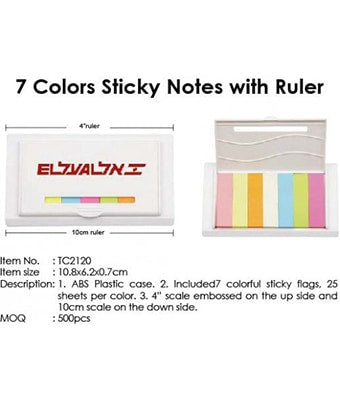 7 Colors Sticky Notes with Ruler - Tredan Connections