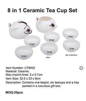 8 in 1 Ceramic Tea Cup Set - Tredan Connections