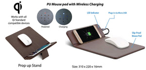 PU Mouse pad with Wireless Charging - Tredan Connections