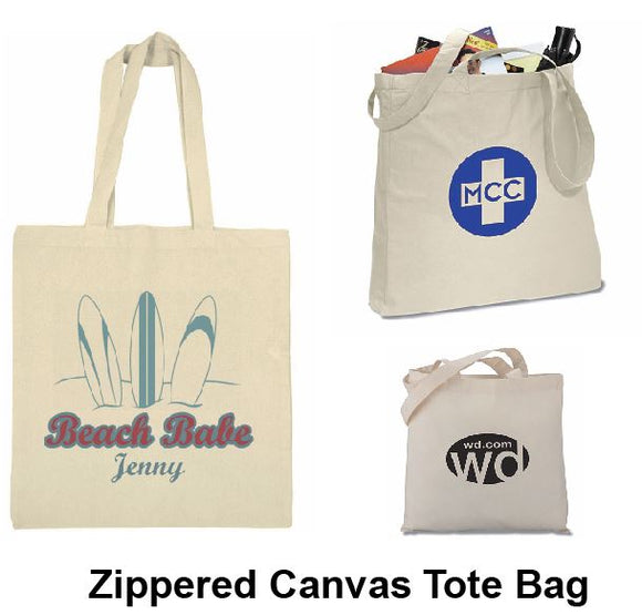 Zippered Canvas Tote Bag - Tredan Connections