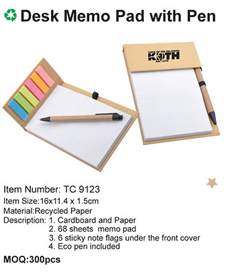 Desk Memo Pad with Pen - Tredan Connections