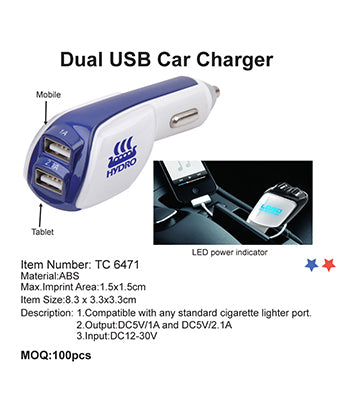 Dual USB Car Charger - Tredan Connections