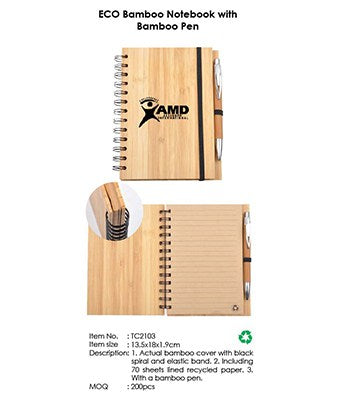 ECO Bamboo Notebook with Bamboo Pen - Tredan Connections