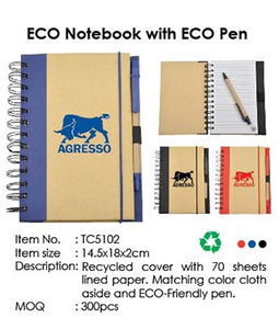 ECO Notebook with ECO Pen - Tredan Connections